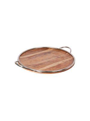 aluguel de bandeja redonda madeira com borda cromada com alça
